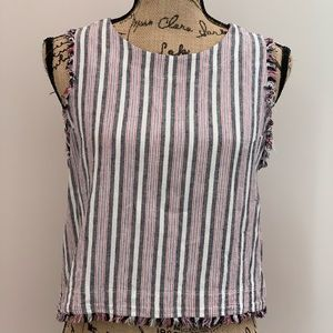 Anthropologie Cloth & Stone Striped Frayed Top SM